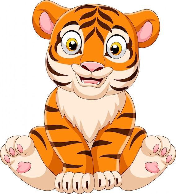 Cartoon baby tiger sitting Premium Vector