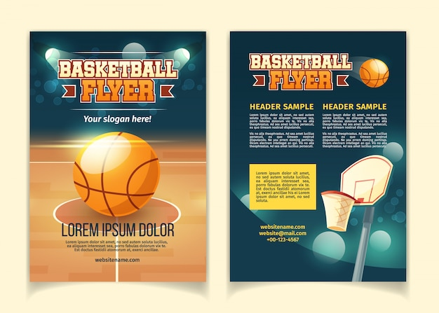 Cartoon background, flyers to invite on basketball game. Free Vector