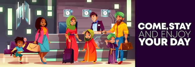 Cartoon background of hotel reception, flyer or ad poster, banner with arab family Free Vector