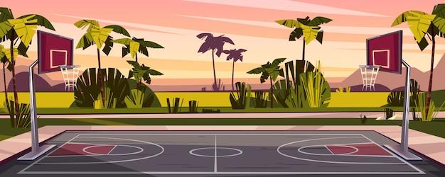 Мультфильм фон баскетбольной площадки на улице. открытая спортивная арена с корзинами для игры. Бесплатные векторы