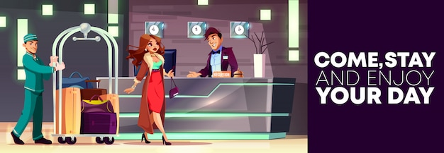 Cartoon background of reception with rich lady and bellboy Free Vector