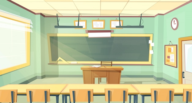 Cartoon background with empty classroom,\ interior inside