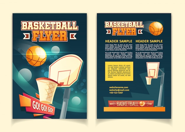 Cartoon background with flyers to invite on basketball game. Free Vector