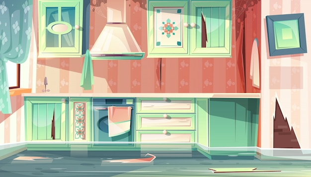Cartoon background with provence room, the flood in dirty kitchen. Free Vector