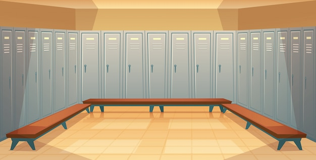 Cartoon background with rows of individual lockers, empty dressing room with closed metal Free Vector