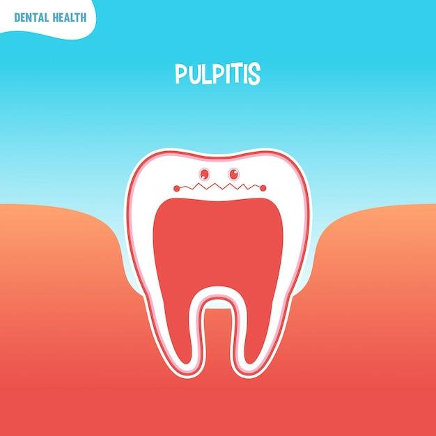 Cartoon bad tooth icon with pulpitis Premium Vector