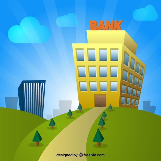 Cartoon Bank Building Vector