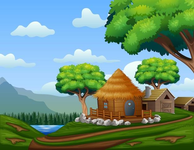 언덕에 오두막 만화 헛간 집 프리미엄 벡터