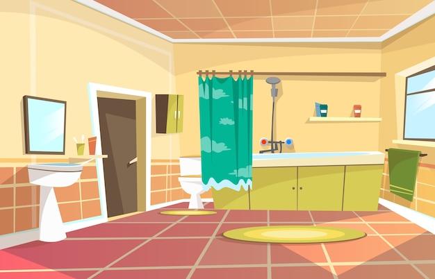 Premium Vector Cartoon Bathroom Interior Background Template