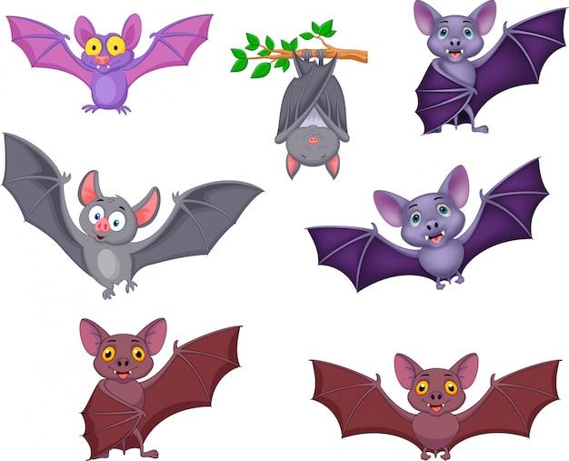 Cartoon bats collection Premium Vector