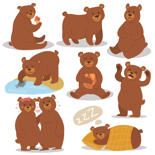 Cartoon bear character different pose set. Premium Vector