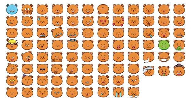 Cartoon bear stickers emoticon Premium Vector