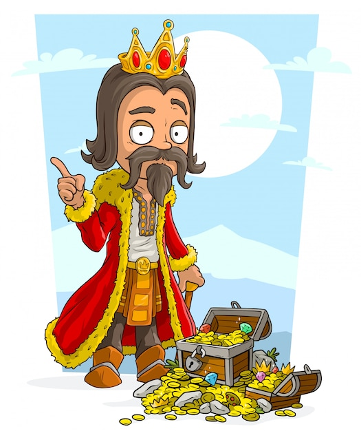Cartoon bearded king with crown and treasure chest Premium Vector