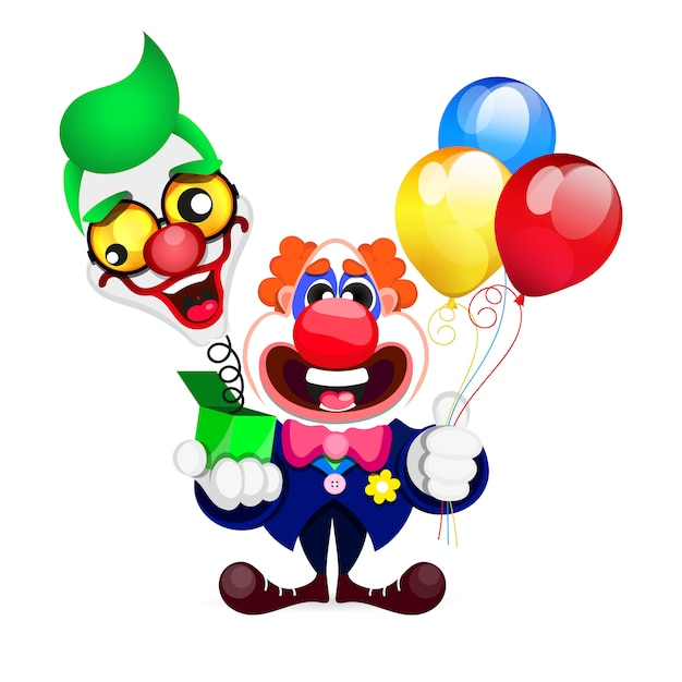 Cartoon beautiful clown Premium Vector