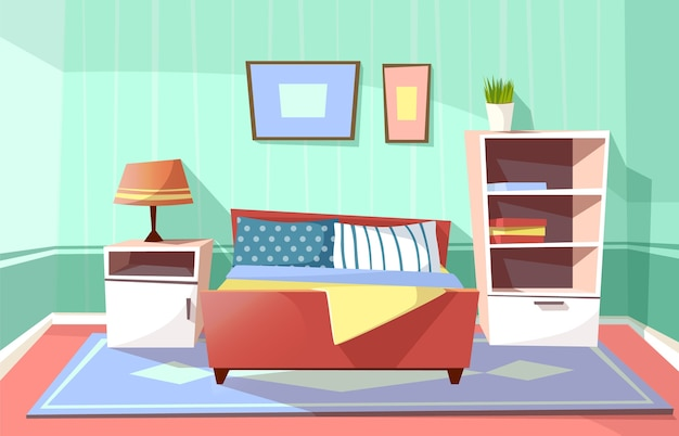 Cartoon bedroom interior background template. cozy modern house room concept. Free Vector