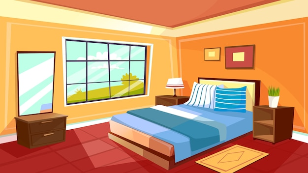 Free Vector Cartoon Bedroom Interior Background Template Cozy Modern House Room In Morning Light