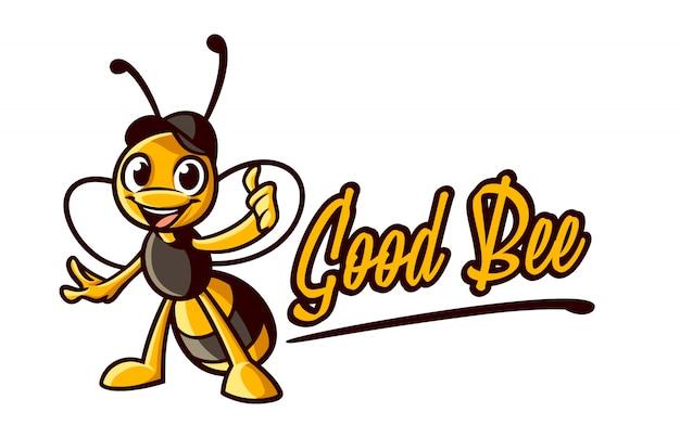 Cartoon bee thumb up персонаж талисман логотип Premium векторы