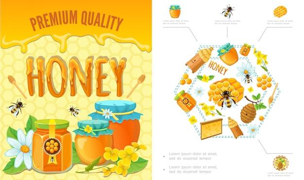Composizione variopinta di apicoltura del fumetto con il bastone del tagliatore dell'alveare del favo delle api delle api vasi e vasi di miele fresco organico Vettore gratuito