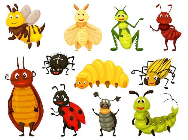Мультяшный жук. каваи ошибка, изолированные на белом. милая оса, пчела, кузнечик, муха, муравей, гусеница, паук, божья коровка, жук, колорадский жук, личинка, жук-олень. векторная иллюстрация насекомых Premium векторы