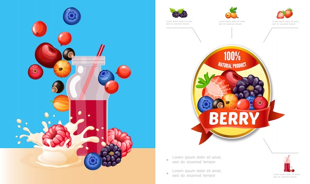 Cartoon berry smoothies composition with cherry blueberry cranberry currants raspberry blackberry milk splashes and natural product label Free Vector
