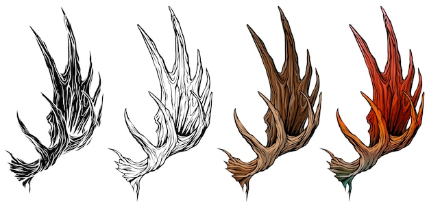 Cartoon big moose horns or antlers vector set Premium Vector