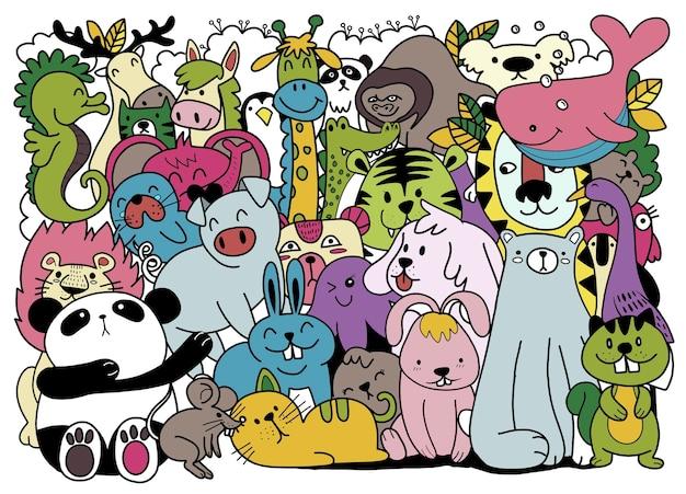귀여운 낙서 동물의 만화 큰 집합입니다. 엽서 생일 아기 책 어린이 방, 색칠하기 책 그림, 별도의 레이어에 각각 적합합니다. 프리미엄 벡터