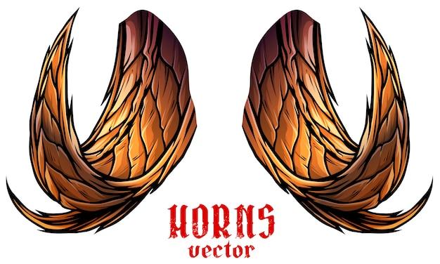 Cartoon big sharp animal horns vector Premium Vector