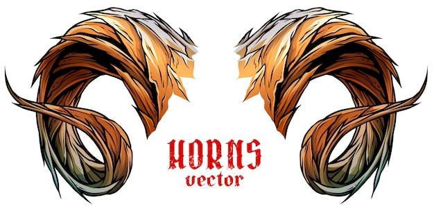 Cartoon big sharp ram or goat horns vector Premium Vector