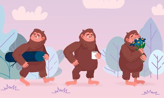 Collezione di personaggi sasquatch bigfoot del fumetto Vettore gratuito