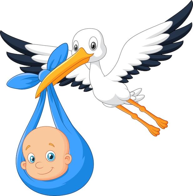 Cartoon bird stork with baby Premium Vector