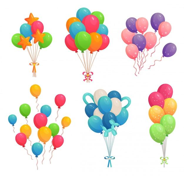 생일 풍선 만화. 리본 일러스트 세트에 다채로운 공기 풍선, 파티 장식 및 비행 헬륨 풍선 프리미엄 벡터
