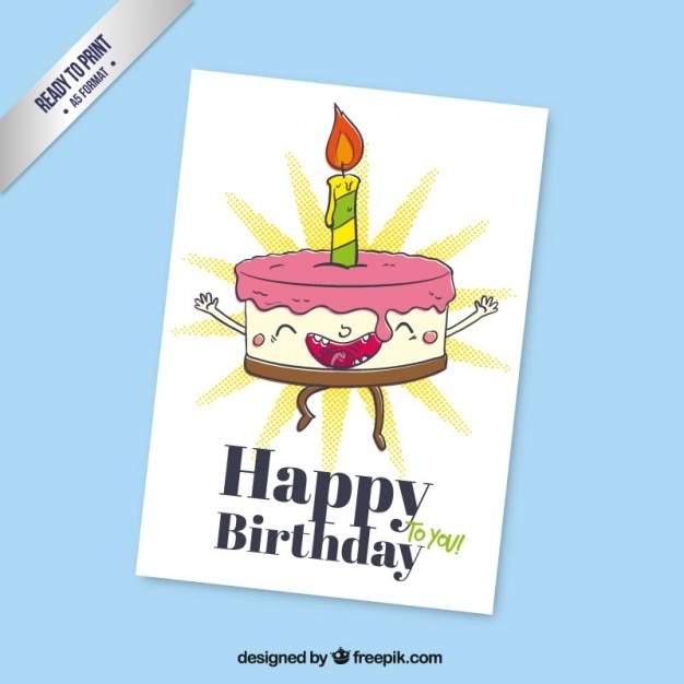 Cartoon Birthday Cake Card Vector Free Download