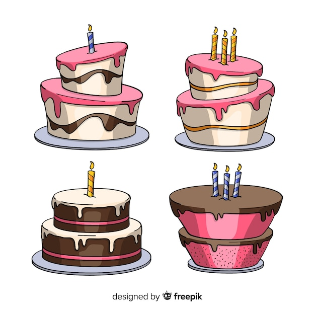 Cartoon Birthday Cake Collection Free Vector