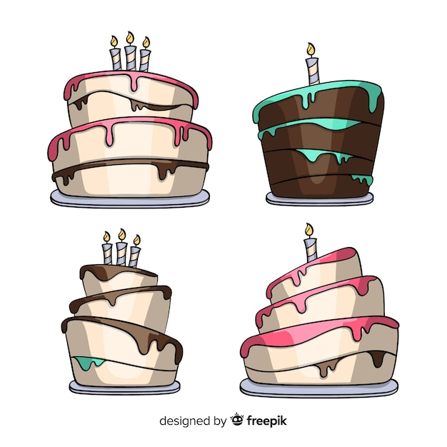 Cartoon birthday cake collection Free Vector