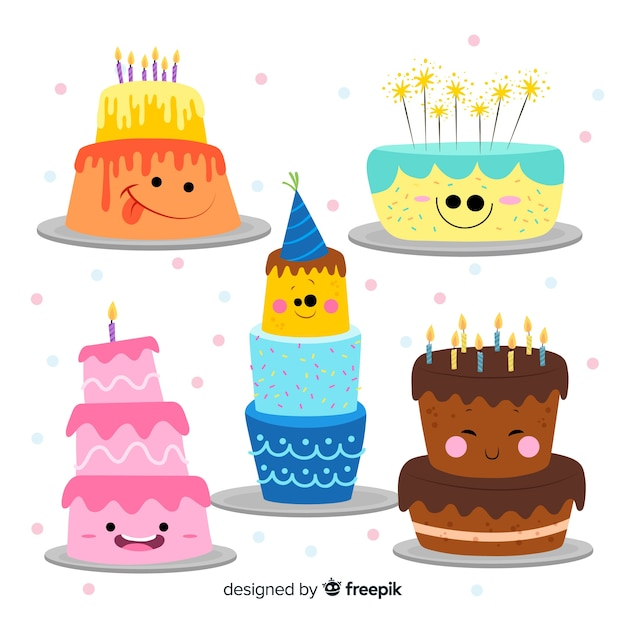Sensational Cartoon Birthday Cake Collection Free Vector Funny Birthday Cards Online Inifodamsfinfo