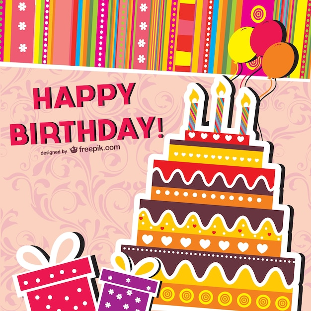 Cartoon Birthday Cards Vector Free