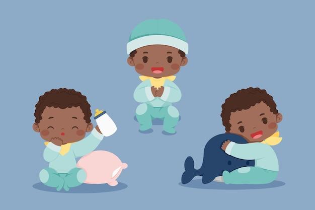 Коллекция мультфильмов черный ребенок Бесплатные векторы