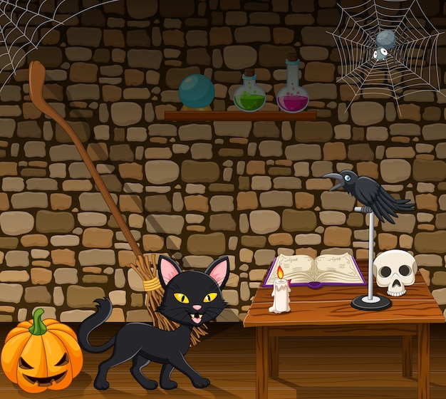 Cartoon black cat in the witch house Premium Vector