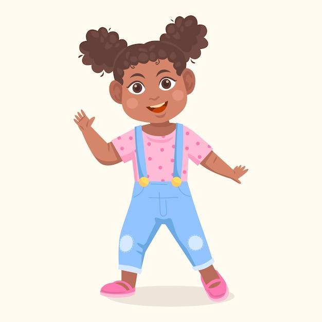 Illustrazione della ragazza nera del fumetto Vettore gratuito