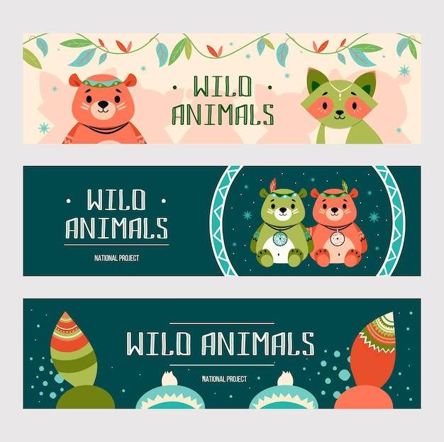 漫画自由奔放に生きる動物のバナーセット。ネイティブアメリカンの装飾が施されたかわいいクマとアライグマ 無料ベクター