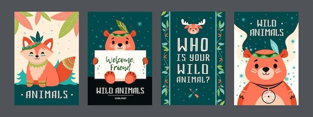 Набор плакатов мультфильм бохо животных. милый медведь, лиса, лось с украшениями Бесплатные векторы