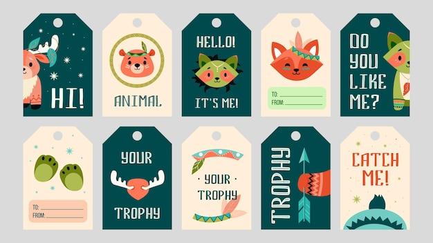 漫画自由奔放に生きる動物のタグセット。かわいいクマ、キツネ、ムース、装飾が施されたアライグマ 無料ベクター