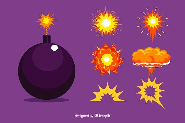 漫画爆弾と爆発効果セット 無料ベクター