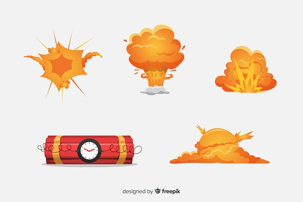 Cartoon bomb and bomb explosion effect collection Free Vector
