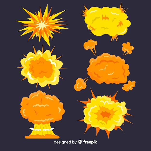 Cartoon bomb and set of bomb explosion effects Free Vector