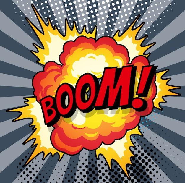 Cartoon, boom explosion comic speech bubble. comic book page Premium Vector