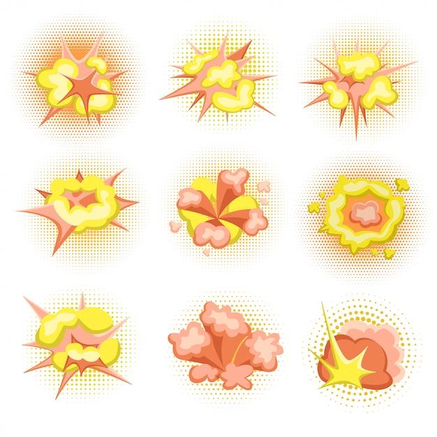 Cartoon boom. set of fire bomb explosions in comic style.  illustration, . Premium Vector