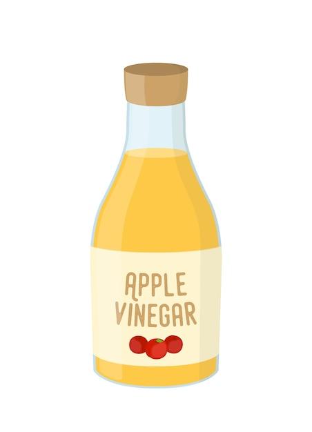 リンゴ酢、黄色の調味料の漫画のボトル Premiumベクター