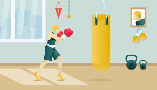 Cartoon boxer wearing boxing gloves trains in gym Premium Vector