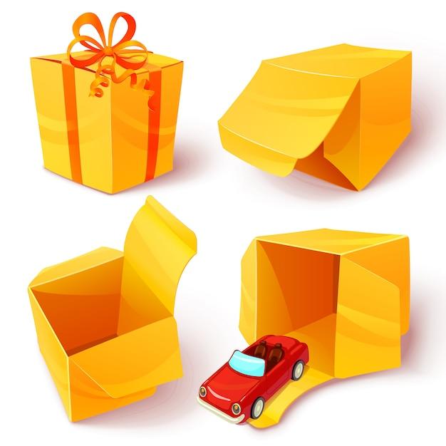 Мультфильм коробки открытый закрытый набор иконок Бесплатные векторы